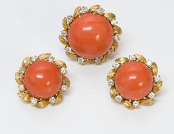 Coral Diamond Gold Earrings Ring