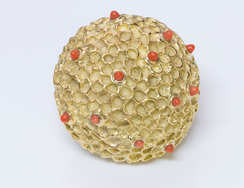 Vintage 18K Dome Gold Coral Brooch