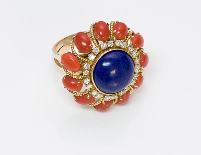 Coral Lapis Diamond 18K Gold Ring