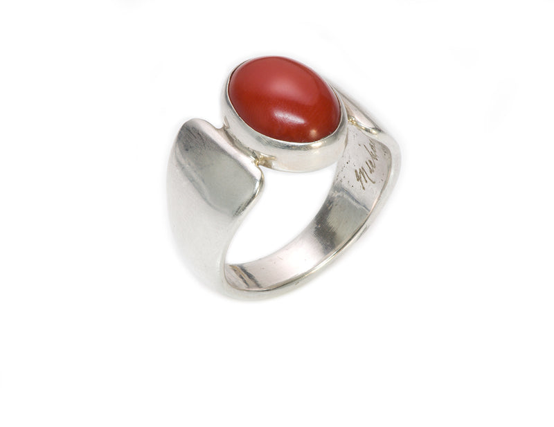 Michael Rogers Silver Coral Ring American Indian