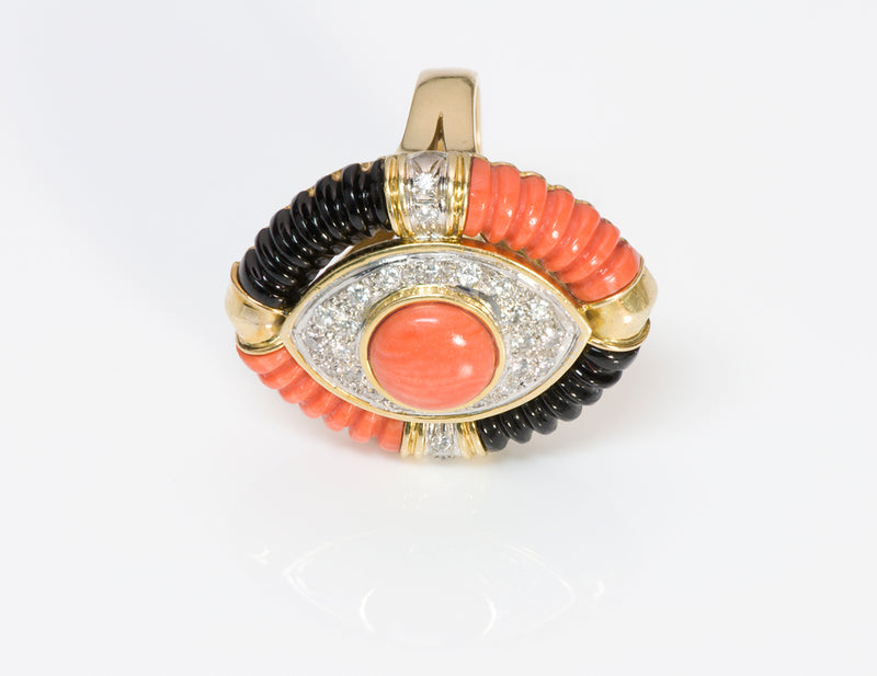 Coral Diamond Onyx 18 Gold Ring-3