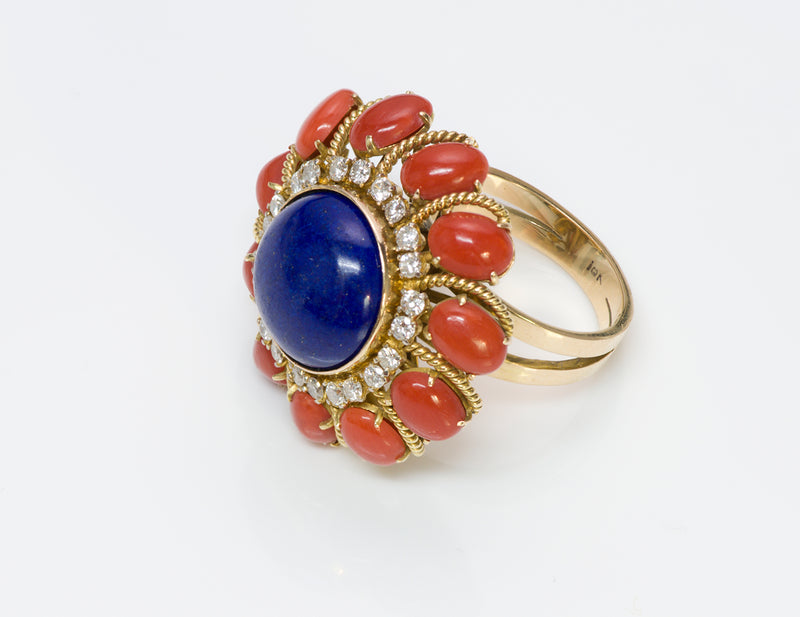 Coral Lapis Diamond 18 Gold Ring