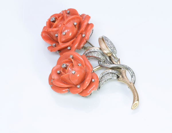 Carved Coral Rose 18K Gold Diamond Brooch 2
