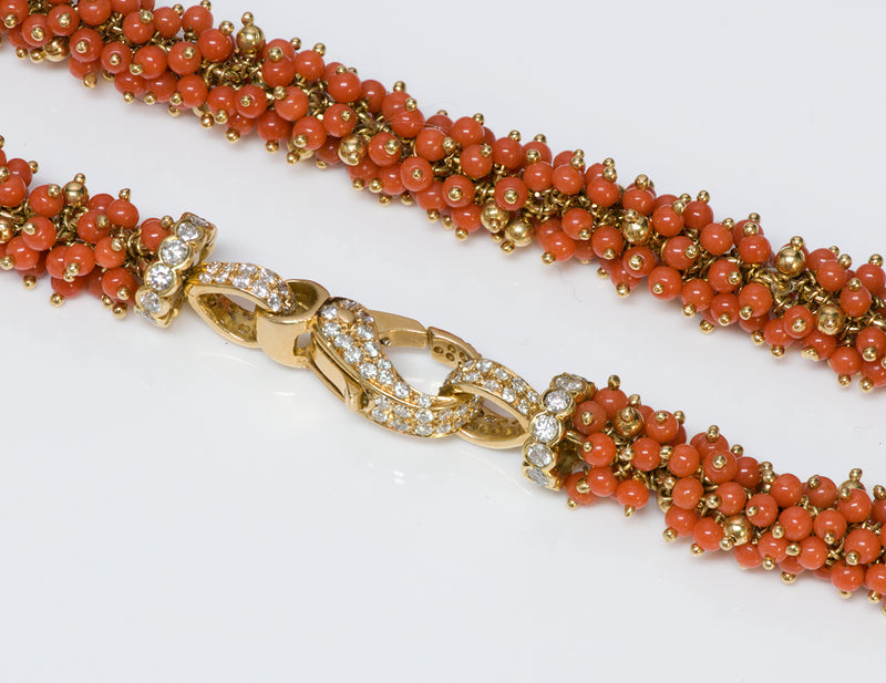 Coral Gold Diamond Necklace