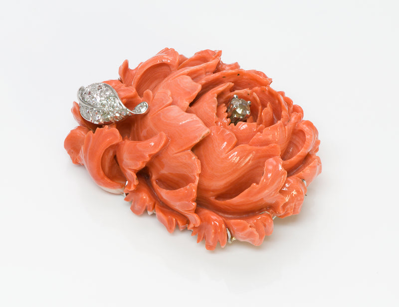 Carved Coral Diamond Brooch 1