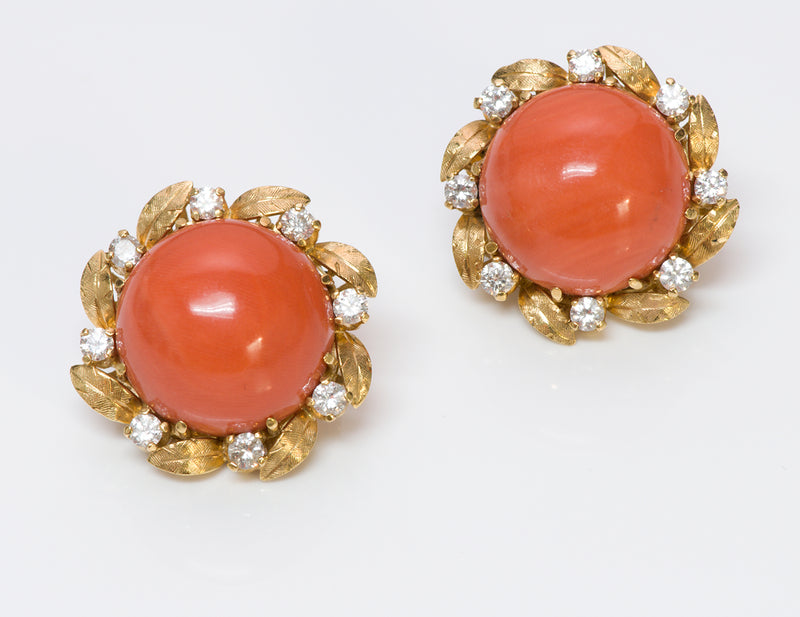Coral Diamond 18K Gold Earrings