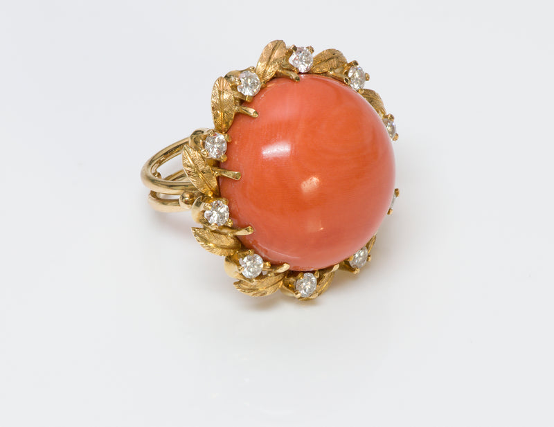 Coral Diamond 18K Gold Ring