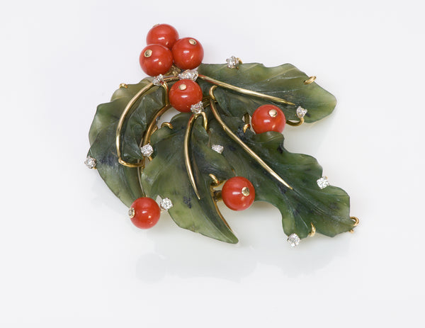Jade Coral Diamond 18k Gold Brooch Pin
