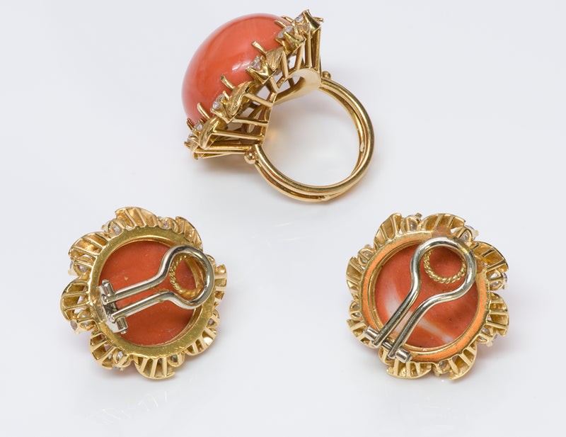 Coral Diamond 18K Gold Earrings Ring Set