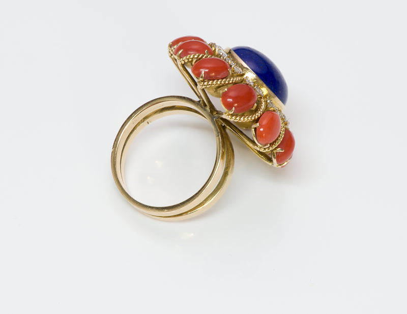 Coral Lapis Diamond 18K Ring