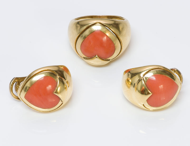Coral Heart 18K Gold Ring Earrings