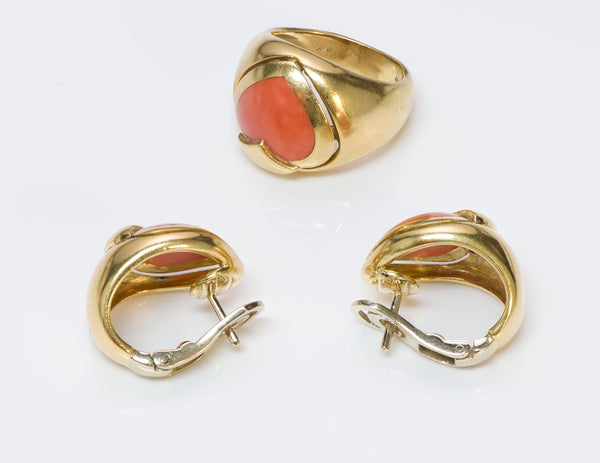 Coral Heart 18K Gold Ring Earrings Set
