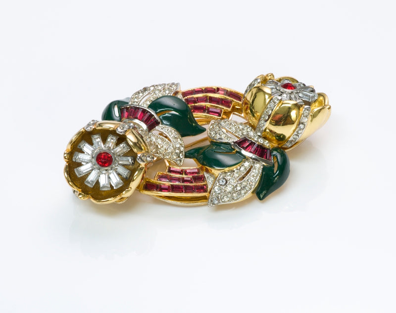 Vintage Coro Duette by Adolph Katz Crystal Clip Brooch