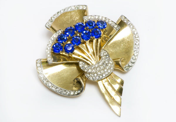 Coro Craft Sterling S Blue Crystal Flower Bouquet Brooch