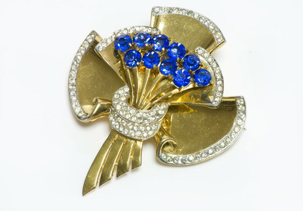 Coro Craft Sterling Silver Blue Crystal Flower Bouquet Brooch