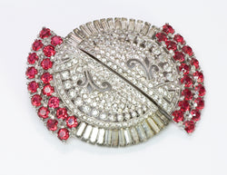 Coro Duette Art Deco Style Faux Rubies Crystal Clips Brooch