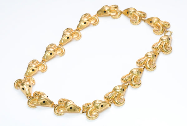 Vintage Costume Jewelry Ram Necklace