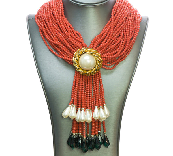 Valentino Faux Coral Pearl Necklace