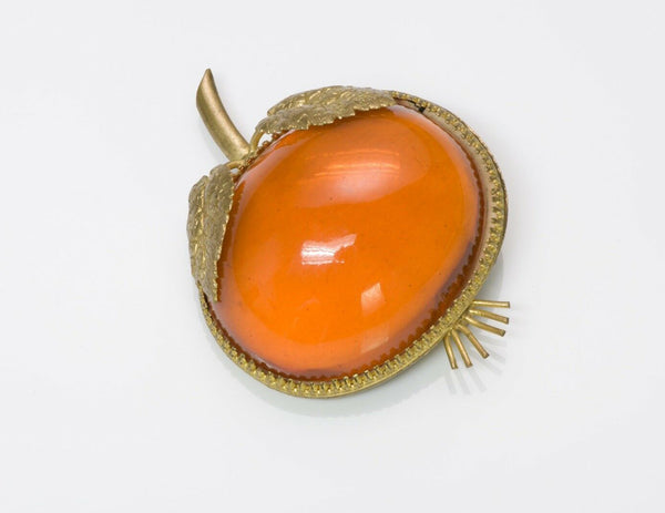 Vintage Countess Cissy Zoltowska CIS 1950's Orange Glass Brooch