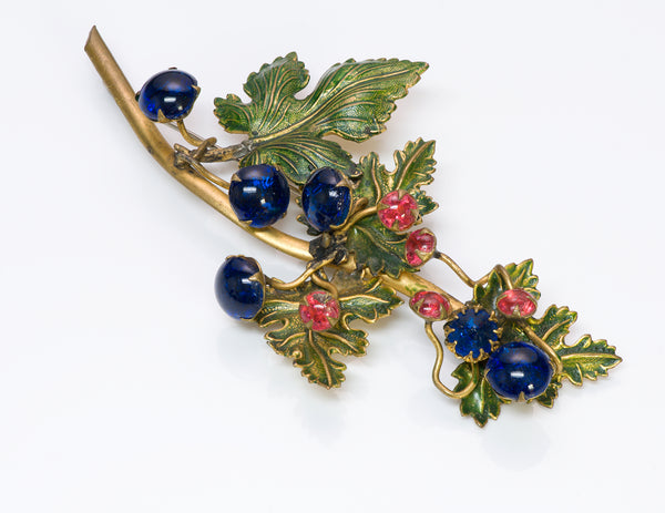Countess Cissy Zoltowska CIS 1950's Glass Enamel Leaf Brooch