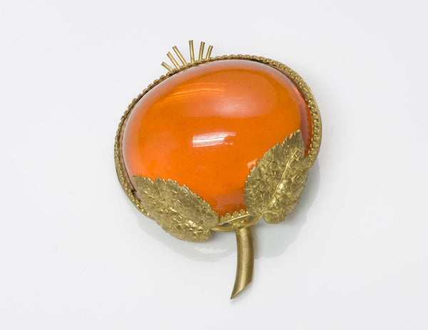 Countess Cissy Zoltowska CIS 1950's Orange Glass Brooch