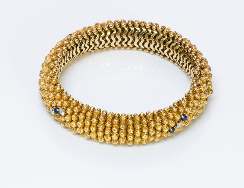 Couscous 18K Gold Diamond Lapis Bracelet-2