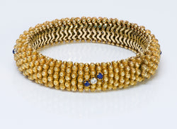 Couscous 18K Gold Diamond Lapis Bracelet