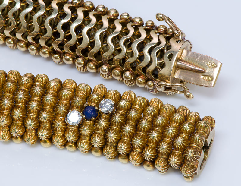 Couscous 18K Gold Diamond Lapis Bracelet-3