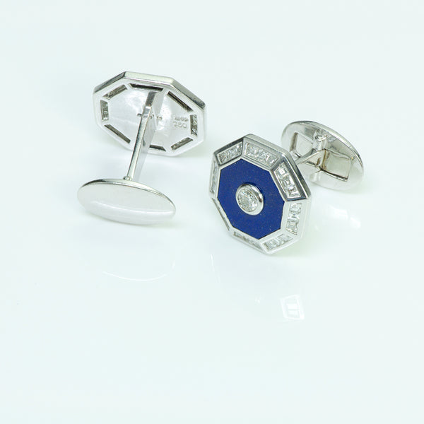Craig Drake Gold Diamond Octagon Cufflinks