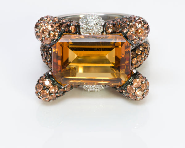 Gemstone Citrine Diamond 18K Gold Ring 2
