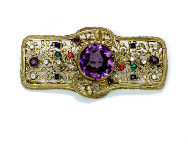 1940's Filigree Purple Crystal Brooch