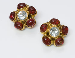 Vintage Maison Gripoix Red Glass Earrings