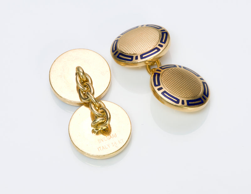 Bulgari Enamel Gold Cufflinks