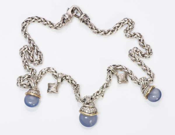 David Yurman Silver Gold Chalcedony Diamond Acorn Necklace