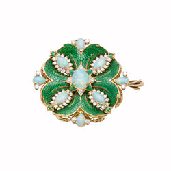 Opal Diamond Gold Enamel Pendant/Brooch