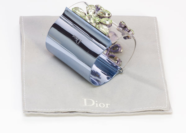 Christian DIOR In Me Green Crystal Blue Wide Cuff Bracelet