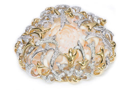 H. Stern by Diane Von Furstenberg Gold Diamond Chrysanthemum Coral Brooch