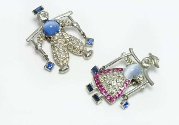 DUJAY 1939 Dutch Twins Jack Jill Water Carrier Blue Pink Crystal Pin Brooch Set