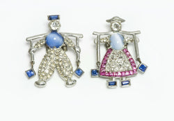 DUJAY 1939 Dutch Twins Jack Jill Water Carrier Pin Brooch Set