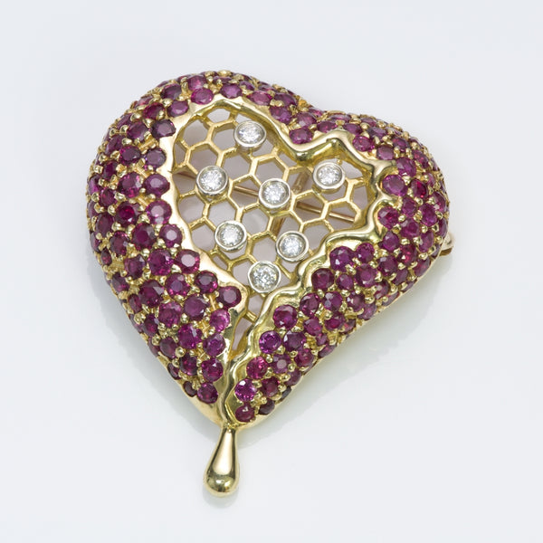 Salvador Dali Kaston Gold Ruby Diamond Honeycomb Pendant Brooch