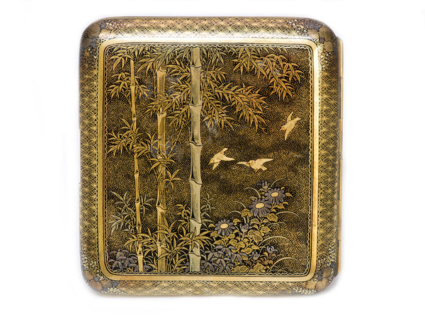 Japanese Damascene Iron Gold Cigarette Case Meiji