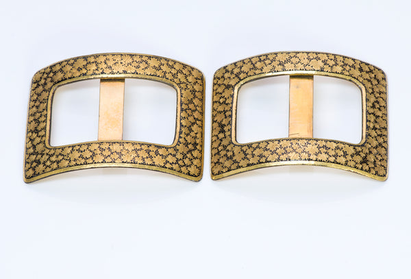 Antique Damascene Iron Gold Shoe Buckles 2