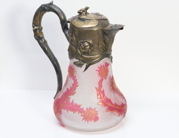 Daum Nancy Cameo Glass Sterling Claret Jug