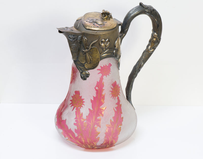 Daum Nancy Cameo Sterling Claret Jug