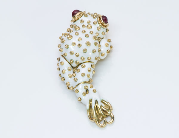 David Webb Ruby Frog Brooch