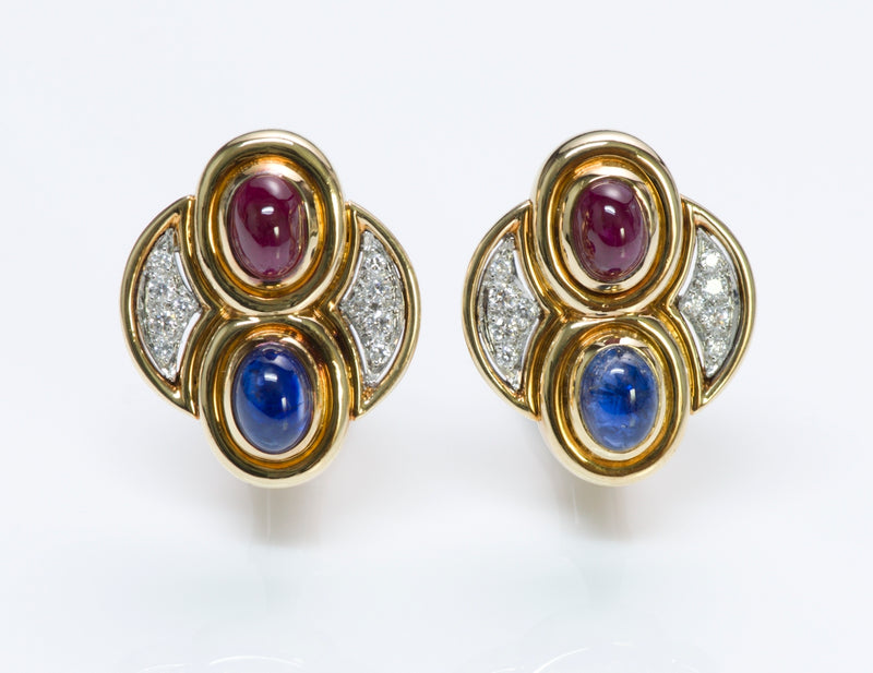 David Webb Sapphire & Ruby Earrings