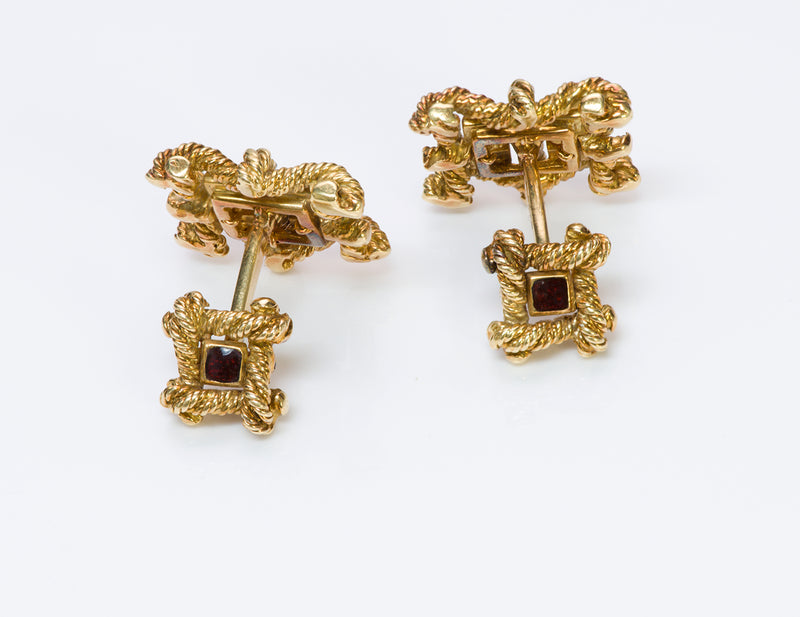 David Webb Enamel Gold Cufflinks Studs