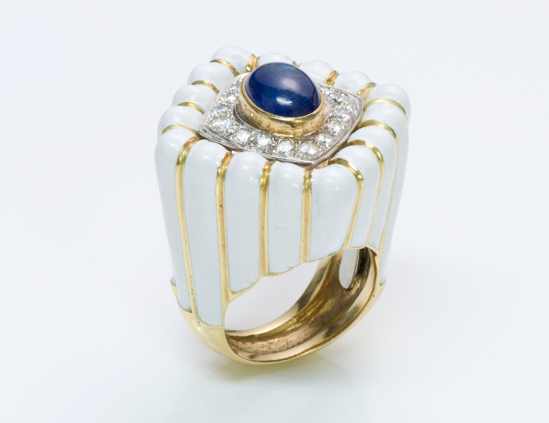 David Webb Sapphire Diamond Ring Enamel