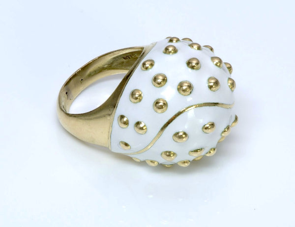 David Webb Enamel & Gold Ring