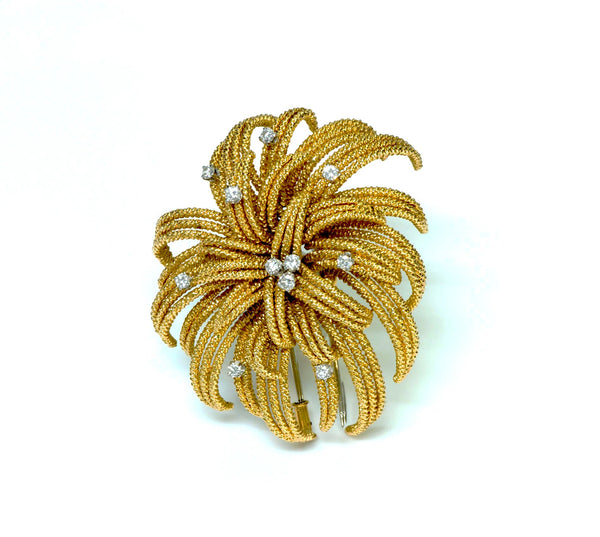 David Webb 18K Gold Diamond Brooch